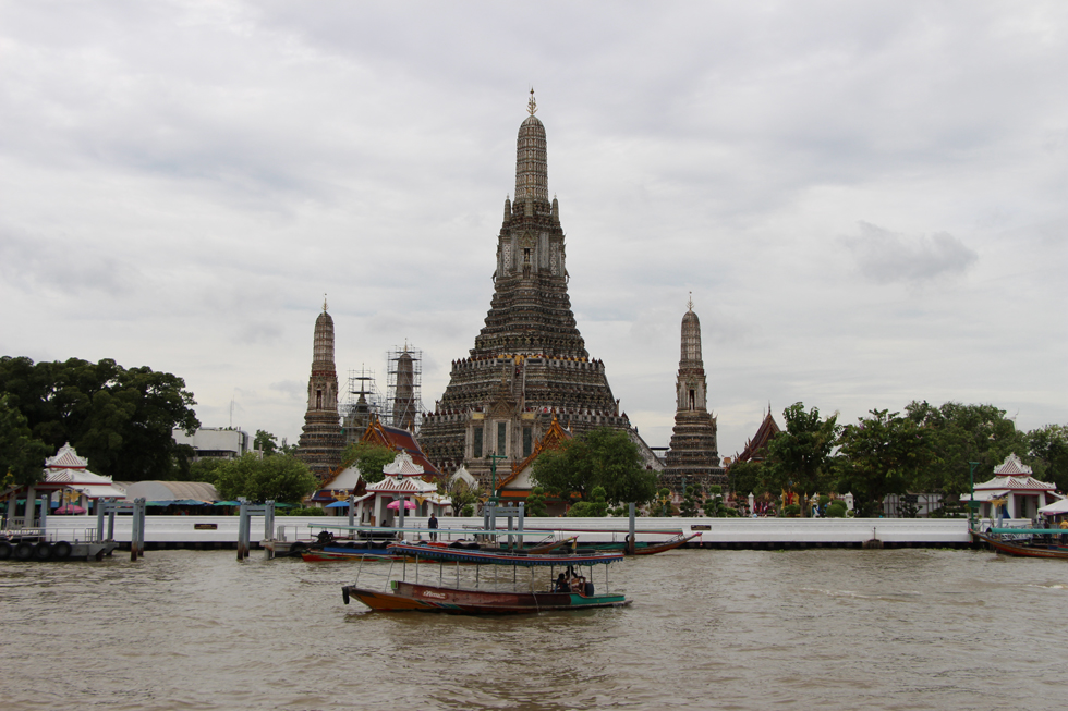 Wat Arun next to the Chao Phraya River in Bangkok