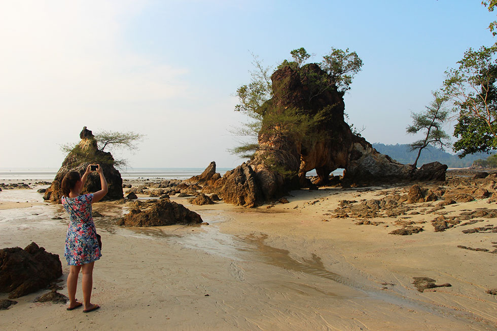 Taking a photo at Aow Kao Kwai in Koh Phayam