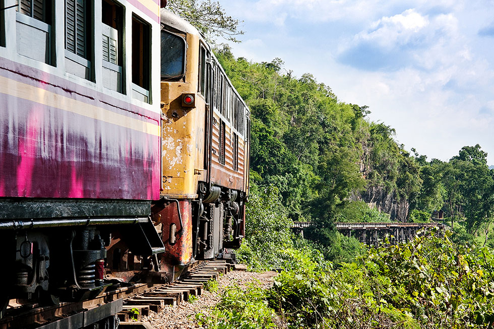 Large parts of the original Burma Railway, or the Death Railway, are still in use