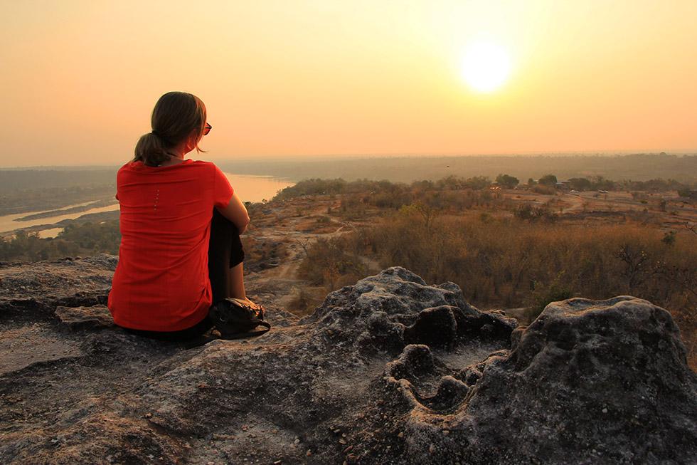 Beautiful sunset overlooking Mekong River - Pha Taem National Park