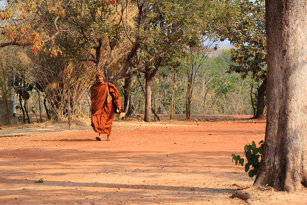 A monk in Pha Taem National Park