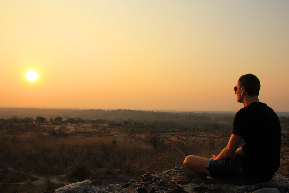 Sander enjoying the sunset at Pha Taem National Park