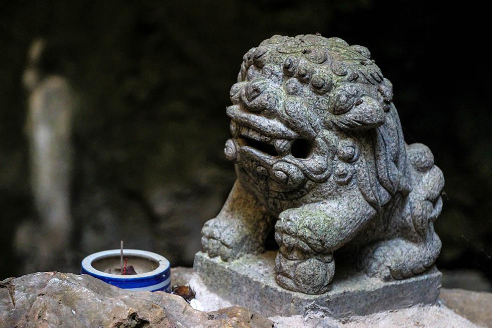 Lion statue found inside the Phraya Nakhon Cave