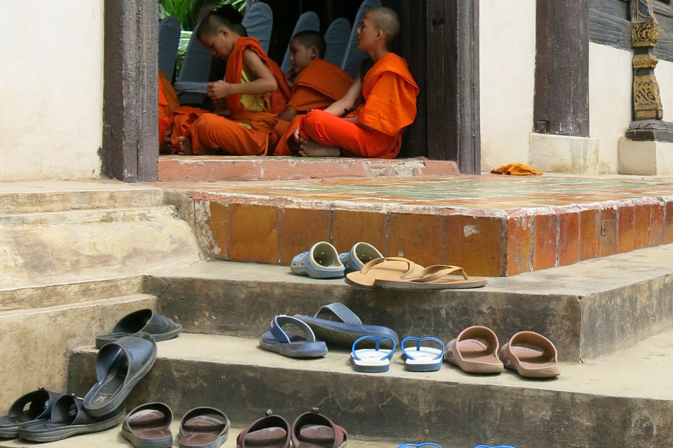 Shoes outside a Thai temple