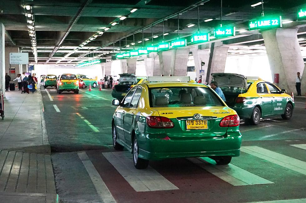 Official taxi stand at Suvarnabhumi Airport in Bangkok