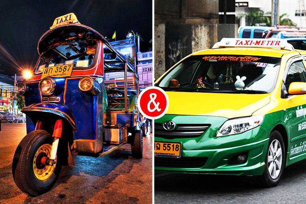 Tuk tuk vs. taxi in Bangkok