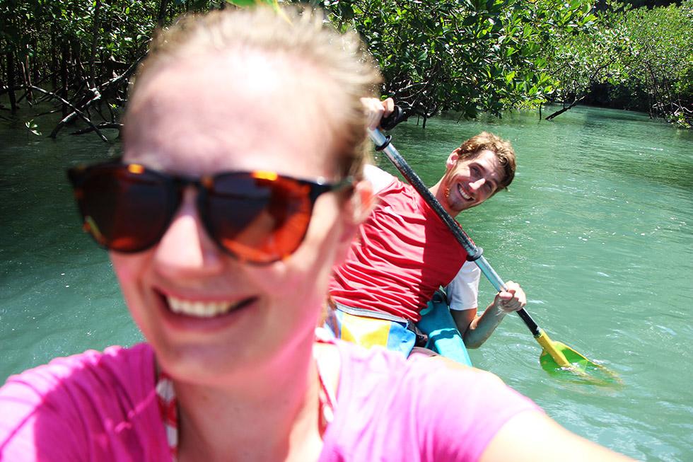 Having fun Kayaking Tha Lane Bay in Krabi