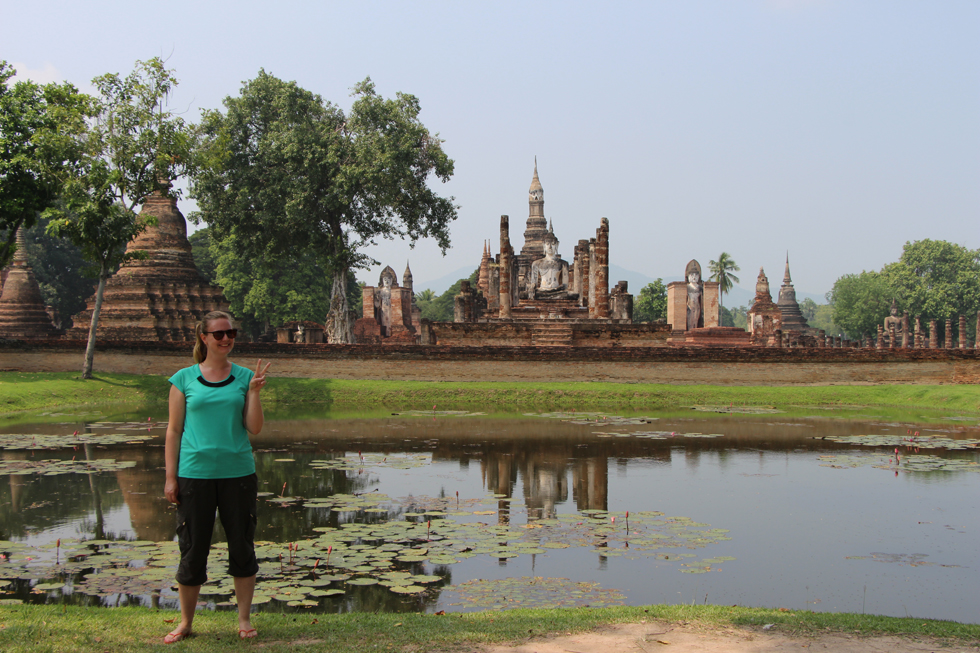 Posing in front of Wat Mahathat in Sukhothai