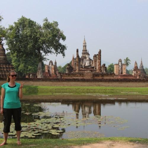 Posing in front of Wat Mahathat in Sukhothai