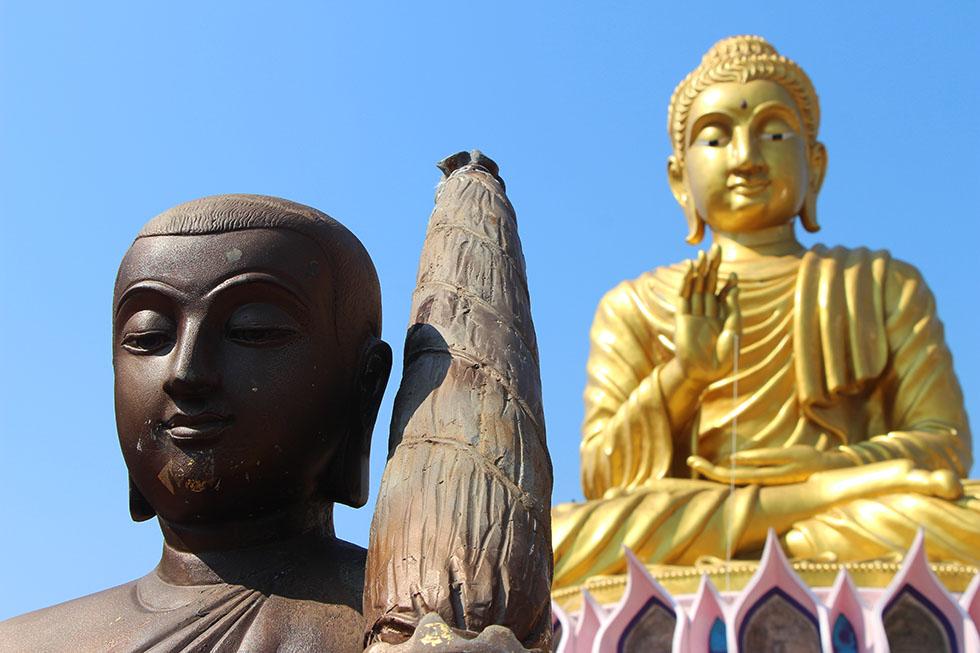 Big lotus flower with golden Buddha statue in the center - Wat Samphran in Bangkok