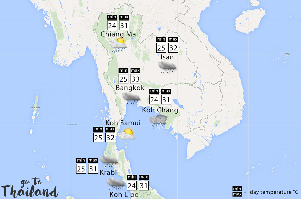 Thailand Weather Map.Weather In August Where To Go Go To Thailand