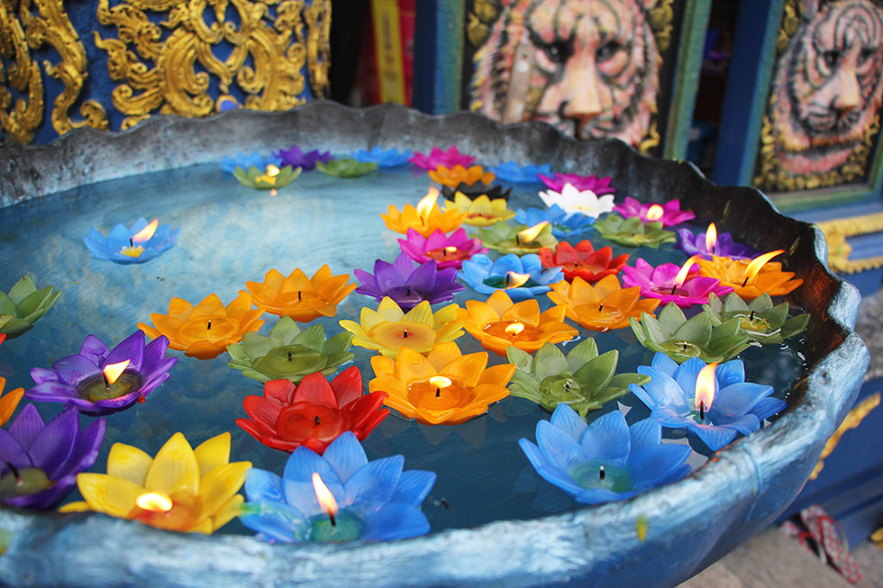Floating candles at Chiang Rai's Blue Temple