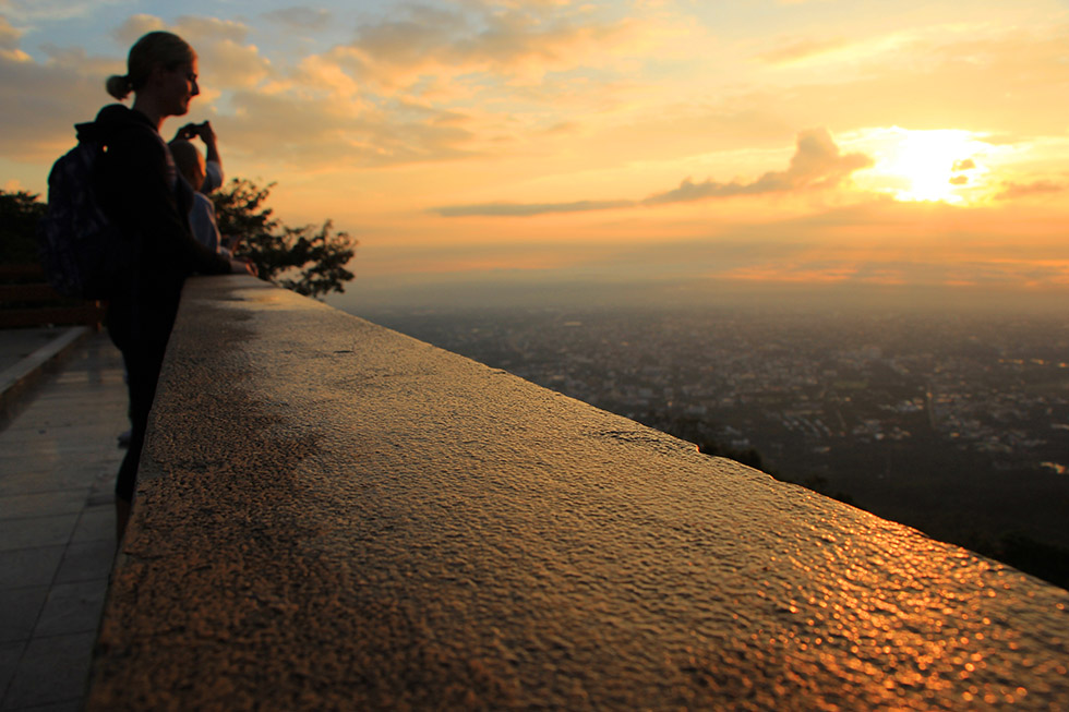 Watching the sunrise at Doi Suthep