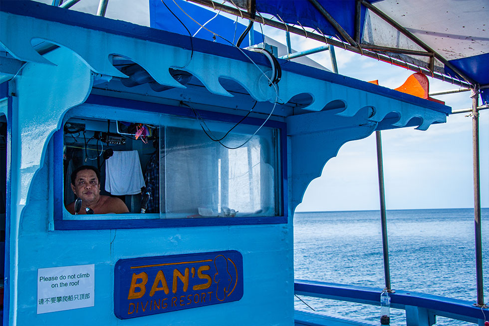 Captain of our diving boat