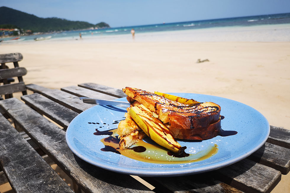 French toast for breakfast at Sairee Beach, Koh Tao