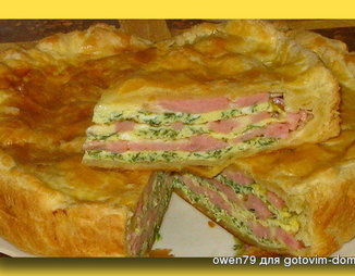 Пирог из слоеного теста с лососем и шпинатом пошаговый