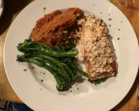 Honey almond salmon, sweet potato mash and broccolini