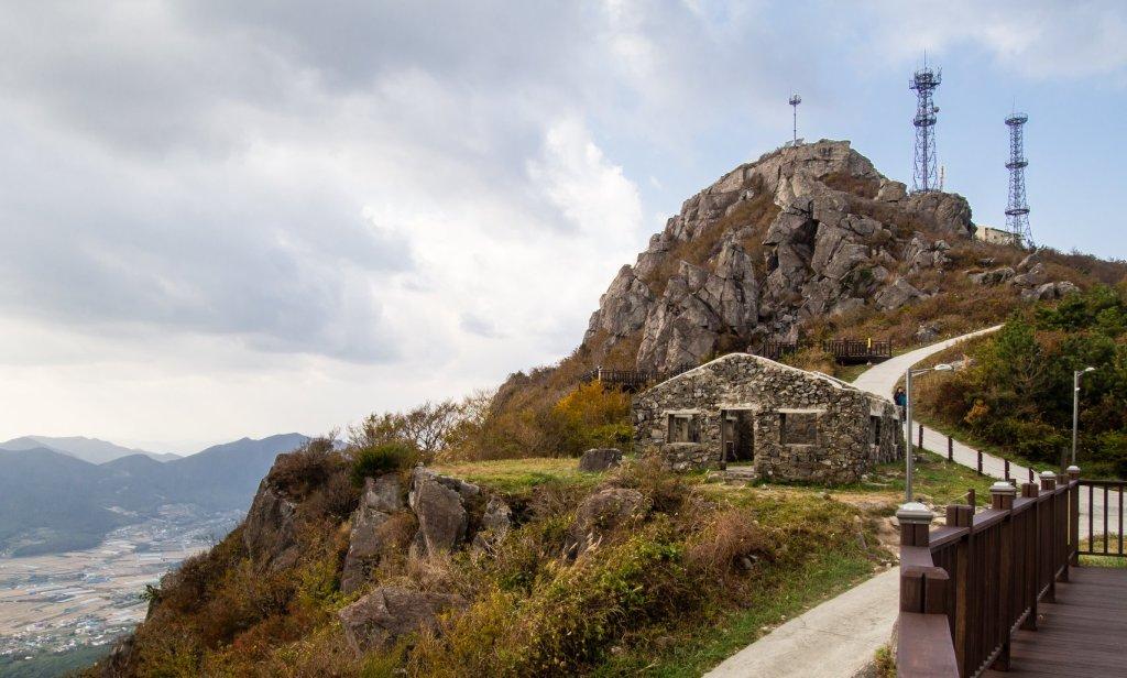 Remnants of P.O.W. communication tower on Gyeryongsan in Geoje.