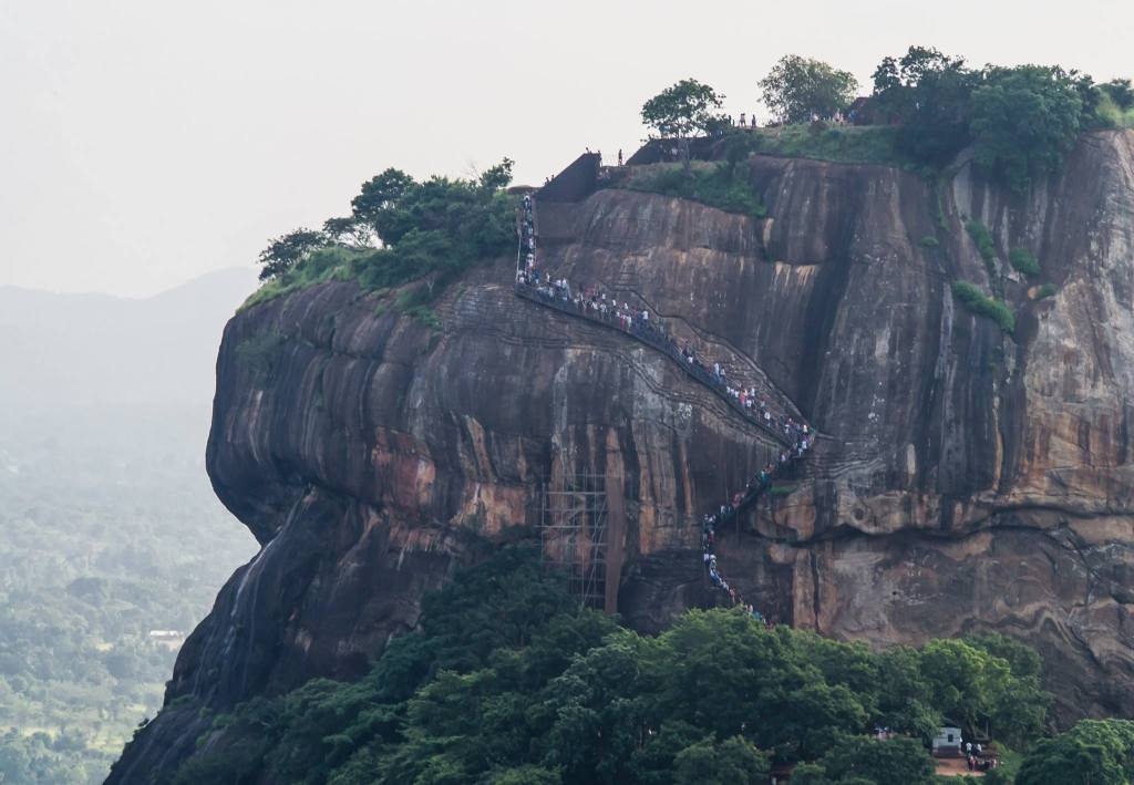 Tourists on Sigiriya Rock.