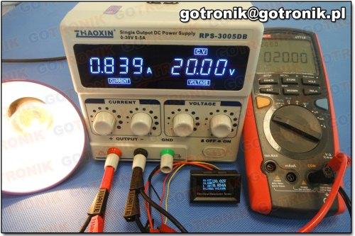 Pomiar napięcia przy 20 V