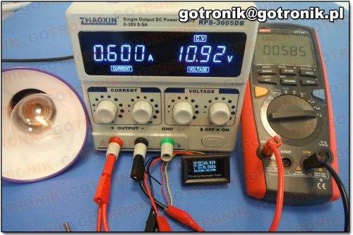 Pomiar prądu przy 0,600 A