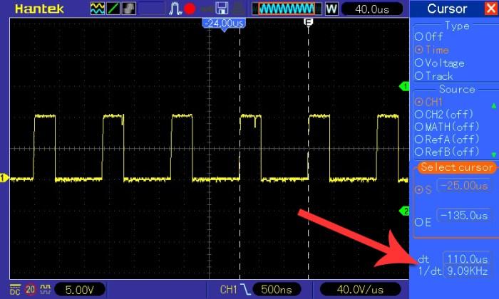 Pomiar częstotliwości przy napięciu wejściowym 9 V