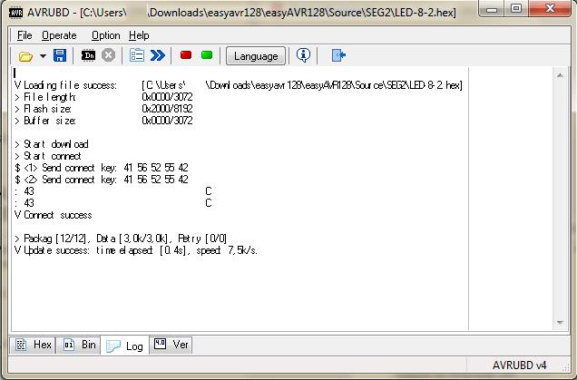 Ładowanie zawartości programu do mikrokontrolera