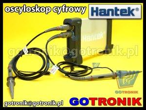 oscyloskop Hantek6022BE z podłączonymi sondami