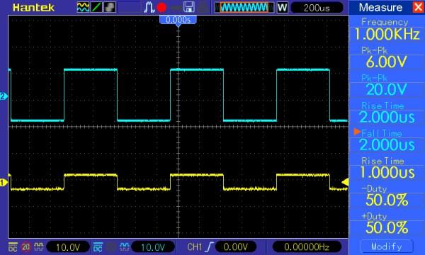 Pomiar 4: f=1kHz, amplituda 5V