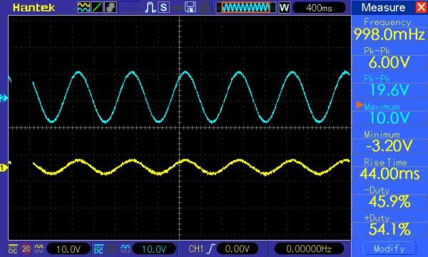 Pomiar 1: f=10Hz, amplituda=5V