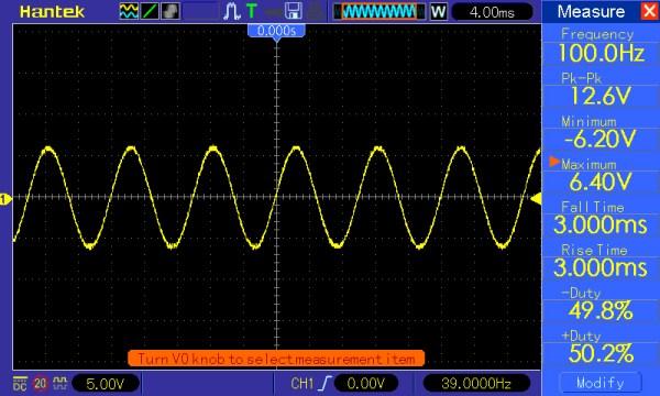 Pomiar 3: f=100 Hz, Amplituda =12V