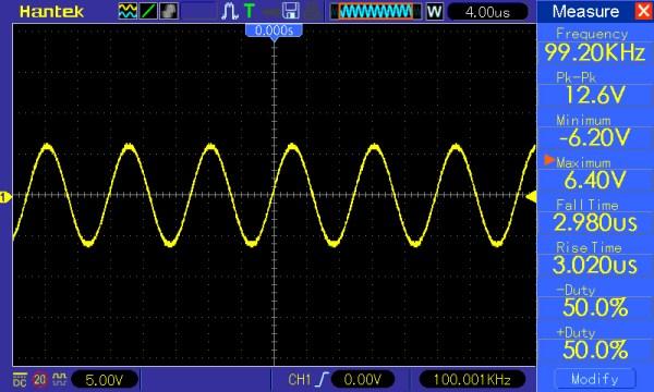 Pomiar 6: f=100kHz, Amplituda 12V