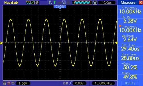 Częstotliwość przebiegu 10kHz, amplituda 5V