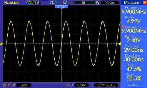 Częstotliwość przebiegu 10MHz, amplituda 5V