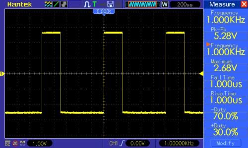Przebieg prostokątny o częstotliwości 1kHz