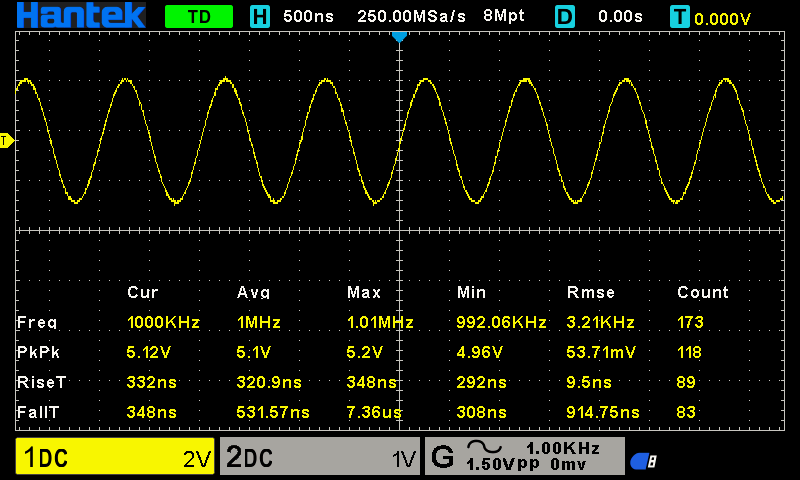 DSO2D10 oscyloskop cyfrowy 2x100MHz Hantek z generatorem funkcyjnym 25MHz