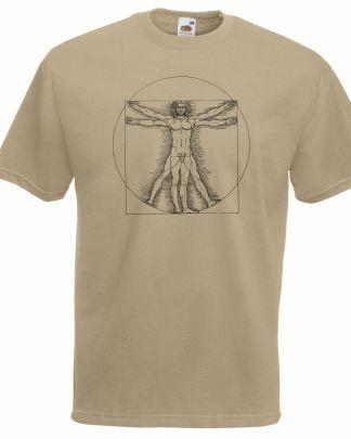 Vituvian man Da Vinci's creation about human proportions t-shirt beige