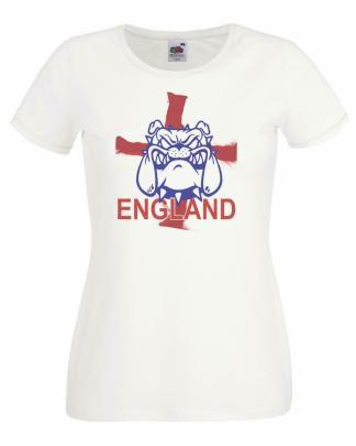 British Bull Dog England St George Cross Football Rugby Ladies White T-Shirt