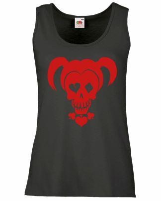 Ladies Black Harley Quinn Skull Vest Womans Evil Villain Halloween Tank Top