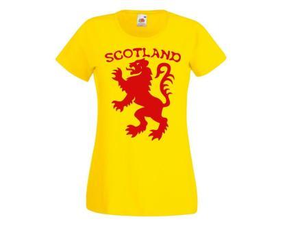 Ladies Scotland the Lion Rampant Scottish Tartan Army Football Rugby T-Shirt