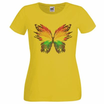 This is a yellow abstract butterfly t-shirt for festivals and pride days