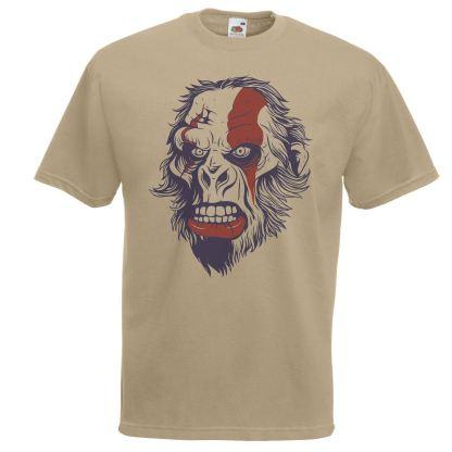 Mens Khaki Ape of War T-Shirt Warpainted Gorilla Gamer TShirt