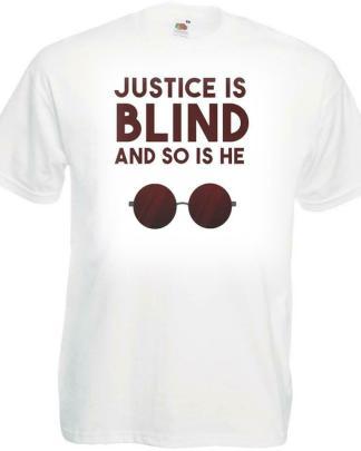 Mens White Justice Is Blind Comic Super Hero Movie Tshirt