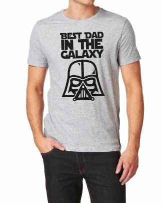 Best Dad In The Galaxy Grey T-Shirt Darkside Vader Galaxy Wars