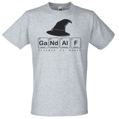 Gandalf Science Is Magic T-Shirt Atomic Number Periodic Table