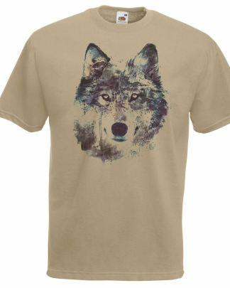 NightWolf T-Shirt Water Colour Printed Khaki Unisex