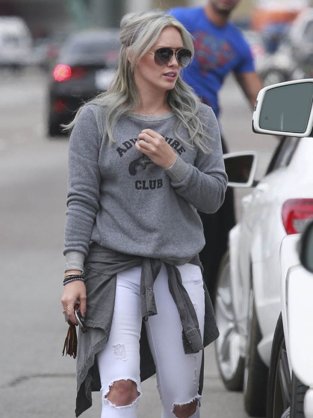 "51721787 Singer and actress Hilary Duff is spotted out for breakfast with her son Luca and friends in West Hollywood, California on April 25, 2015. Hilary recently released her new single, ""Sparks,"" the latest song on her forthcoming fifth studio album, which is set for a summer release. FameFlynet, Inc - Beverly Hills, CA, USA - +1 (818) 307-4813"