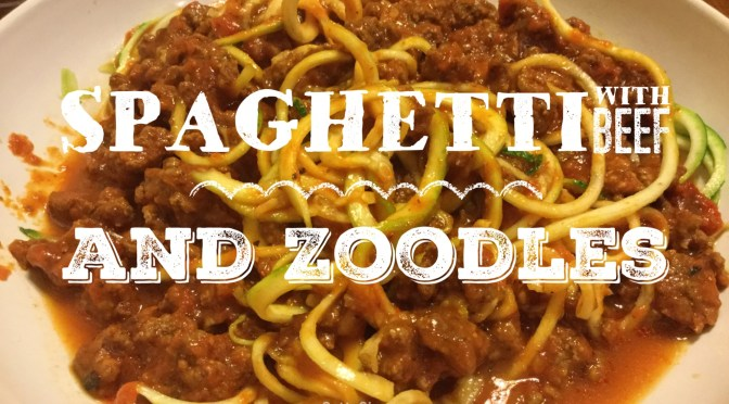 spaghetti with beef and zoodles