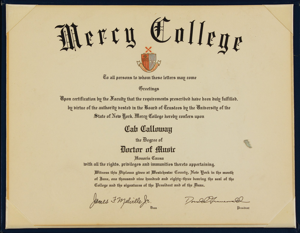 Lot Detail Cab Calloway Personal Mercy College Honorary