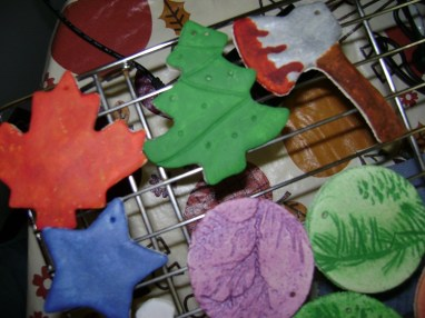 Salt dough ornaments with bloody axe